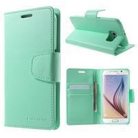 Diary PU kožené puzdro na mobil Samsung Galaxy S6 -cyan