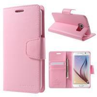 Diary PU kožené puzdro na mobil Samsung Galaxy S6 -růžové