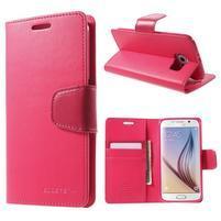 Diary PU kožené puzdro na mobil Samsung Galaxy S6 -rose