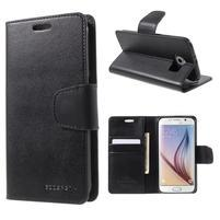 Diary PU kožené puzdro na mobil Samsung Galaxy S6 -čierné