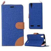 Jeans PU kožené/Textilné puzdro pre mobil Lenovo A6000 - tmavo modré