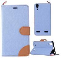 Jeans PU kožené/Textilné puzdro pre mobil Lenovo A6000 - svetlo modré