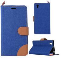 Jeans PU kožené/textilní puzdro na mobil Lenovo P70 - tmavo modré