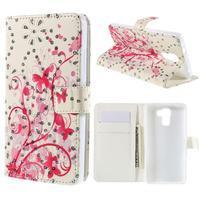 Peňaženkové puzdro s trblietavými flitry pre Huawei Honor 7 - červení motýľe
