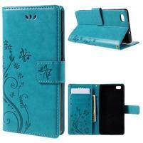 Butterfly PU kožené puzdro na Huawei Ascend P8 Lite - modré