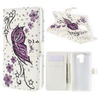 Peňaženkové puzdro s třpytivými flitry pre Huawei Honor 7 - nádherný motýl