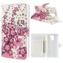 Peňaženkové puzdro s třpytivými flitry pre Huawei Honor 7 - kvetoucí větvička