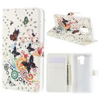 Peňaženkové puzdro s třpytivými flitry pre Huawei Honor 7 - motýlci