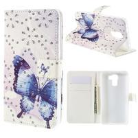 Peňaženkové puzdro s třpytivými flitry pre Huawei Honor 7 - modrý motýl