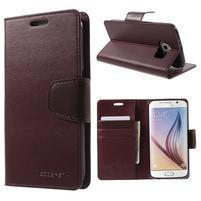 Diary PU kožené puzdro na mobil Samsung Galaxy S6 - vínové