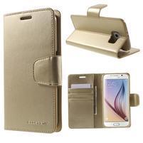 Diary PU kožené puzdro na mobil Samsung Galaxy S6 - zlaté