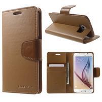 Diary PU kožené puzdro pre mobil Samsung Galaxy S6 - hnedé