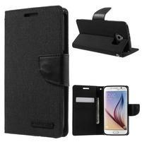 Luxury textilní/koženkové puzdro na Samsung Galaxy S6 - čierné