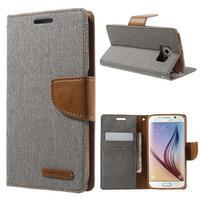 Luxury textilní/koženkové puzdro na Samsung Galaxy S6 - šedé