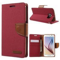 Luxury textilní/koženkové puzdro na Samsung Galaxy S6 - červené