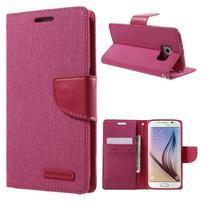 Luxury textilní/koženkové puzdro na Samsung Galaxy S6 - rose