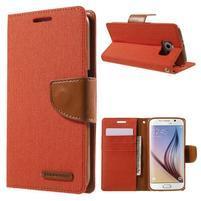Luxury textilní/koženkové puzdro na Samsung Galaxy S6 - oranžové