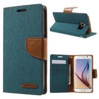 Luxury textilní/koženkové puzdro na Samsung Galaxy S6 - zelenomodré