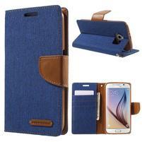 Luxury textilní/koženkové puzdro na Samsung Galaxy S6 - modré