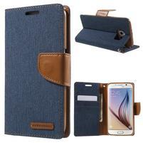 Luxury textilní/koženkové puzdro na Samsung Galaxy S6 - jeans