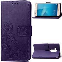 Buttefly PU kožené pouzdro na mobil Honor 7 Lite  - fialové