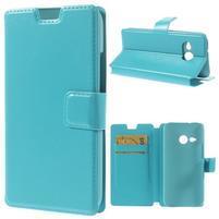 Tyrkysové peňaženkové puzdro pre HTC One mini 2