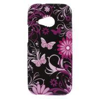 Gélový kryt na HTC One mini 2 - květiny a motýlci