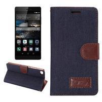 Štýlové peňaženkové puzdro Jeans na Huawei Ascend P8 -  čiernomodré