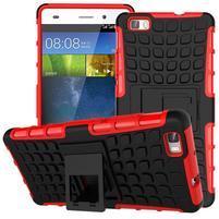 Outdoor odolný kryt 2v1 se stojánkem pro Huawei Ascend P8 Lite - červený