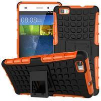 Outdoor odolný kryt 2v1 so stojanom pro Huawei Ascend P8 Lite - oranžový