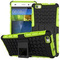 Outdoor odolný kryt 2v1 se stojánkem pro Huawei Ascend P8 Lite - zelený