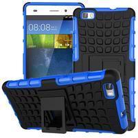 Outdoor odolný kryt 2v1 so stojanom pro Huawei Ascend P8 Lite - modrý
