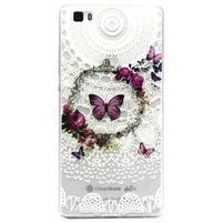 Transparentní gelový obal na Huawei Ascend P8 Lite - motýlek