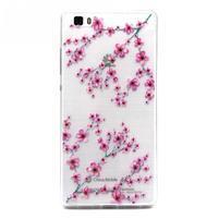 Transparentní gelový obal na Huawei Ascend P8 Lite - květy třešní