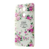 Softy gelový obal na mobil Huawei Mate 8 - květiny na bílém pozadí