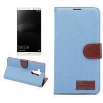 Jeans PU kožené puzdro na mobil Huawei Mate 8 - svetlemodré