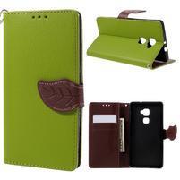 Knižkové PU kožené puzdro na mobil Huawei Mate S - zelené