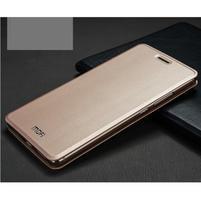 Vintage PU kožené puzdro s kovovou výstuhou na Huawei Mate S - zlaté