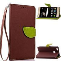 Leaf PU kožené pouzdro na Huawei P9 Lite - hnědé