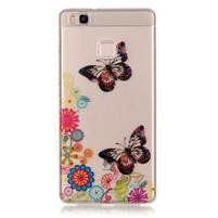 Průhledný gelový obal na mobil Huawei P9 Lite - motýlci