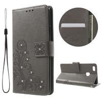 Cloverleaf penženkové pouzdro s kamínky na Huawei P9 Lite - šedé