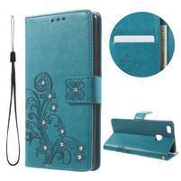 Cloverleaf penženkové puzdro s kamínky na Huawei P9 Lite - modré