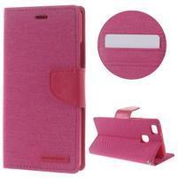 Canvas PU kožené/textilní pouzdro na Huawei P9 Lite - rose