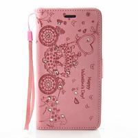 Loves PU kožené pouzdro s kamínky na Huawei P9 Lite - růžové