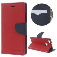 Diary PU kožené puzdro na telefon Huawei P9 Lite - červené