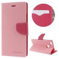 Diary PU kožené puzdro na telefon Huawei P9 Lite - ružové