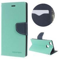 Diary PU kožené puzdro na telefon Huawei P9 Lite - azurové