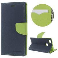 Diary PU kožené pouzdro na telefon Huawei P9 Lite - tmavěmodré