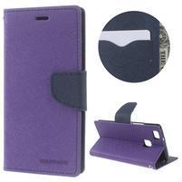 Diary PU kožené puzdro na telefon Huawei P9 Lite - fialové