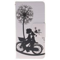 Lethy knižkové puzdro na telefon Huawei P9 Lite - láska na bicykli